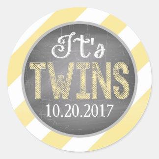 Yellow Diagonal Stripe Twins Baby Shower Round Sticker
