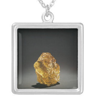 Yellow diamond in the rough silver plated necklace