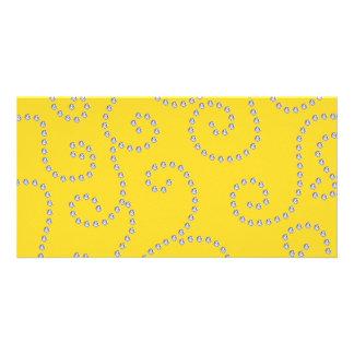 Yellow diamond swirls photo cards