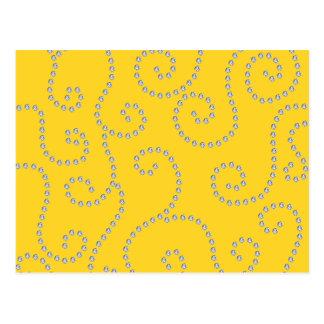 Yellow diamond swirls postcards