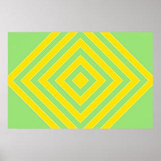 Yellow Diamonds Abstract Poster Print