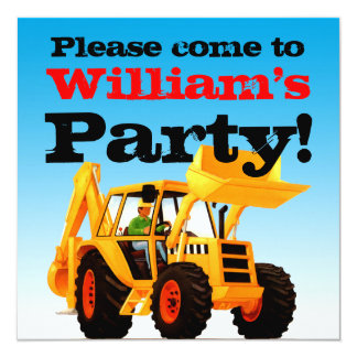Yellow Digger 2nd Birthday Party Personalized Announcements