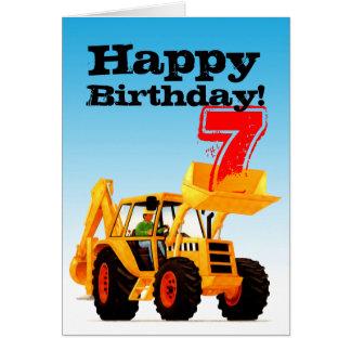 Yellow Digger 7th Birthday Card