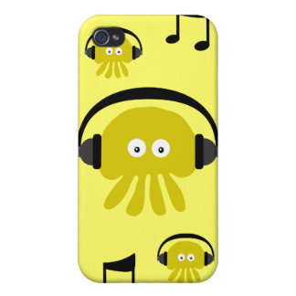 Yellow DJ Jellyfish & musical notes Customizable iPhone 4/4S Cases