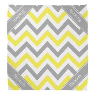 Yellow Dk Gray White LG Chevron Gray Name Monogram Bandana