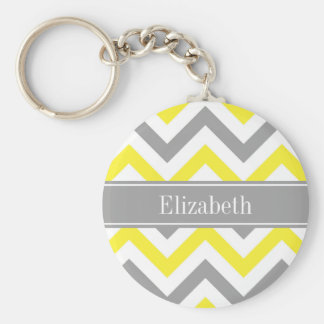 Yellow Dk Gray White LG Chevron Gray Name Monogram Basic Round Button Key Ring