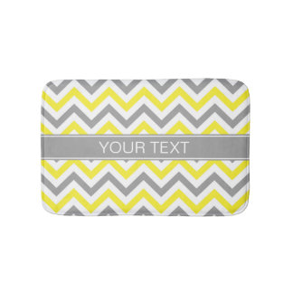 Yellow Dk Gray White LG Chevron Gray Name Monogram Bath Mat