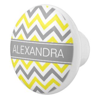 Yellow Dk Gray White LG Chevron Gray Name Monogram Ceramic Knob