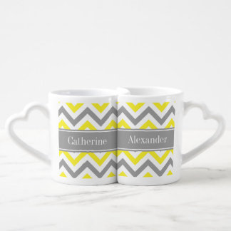 Yellow Dk Gray White LG Chevron Gray Name Monogram Coffee Mug Set