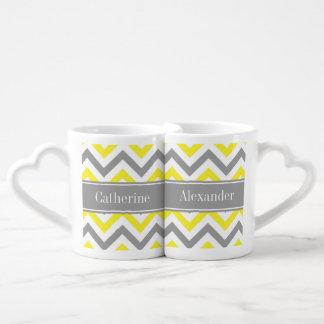 Yellow Dk Gray White LG Chevron Gray Name Monogram Coffee Mug Set