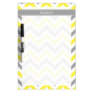 Yellow Dk Gray White LG Chevron Gray Name Monogram Dry Erase Board