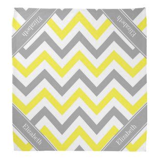 Yellow Dk Gray White LG Chevron Gray Name Monogram Head Kerchief