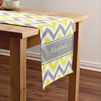 Yellow Dk Gray White LG Chevron Gray Name Monogram Short Table Runner