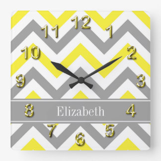 Yellow Dk Gray White LG Chevron Gray Name Monogram Square Wall Clock