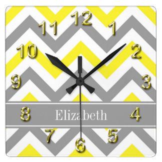 Yellow Dk Gray White LG Chevron Gray Name Monogram Wall Clocks