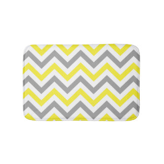 Yellow, Dk Gray Wht Large Chevron ZigZag Pattern Bath Mat