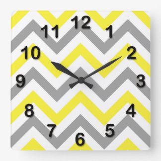 Yellow, Dk Gray Wht Large Chevron ZigZag Pattern Clocks