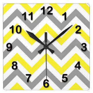Yellow, Dk Gray Wht Large Chevron ZigZag Pattern Clocks