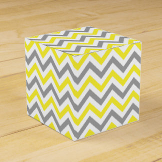 Yellow, Dk Gray Wht Large Chevron ZigZag Pattern Favour Box
