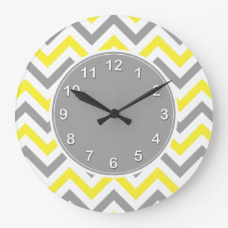 Yellow, Dk Gray Wht Large Chevron ZigZag Pattern Large Clock