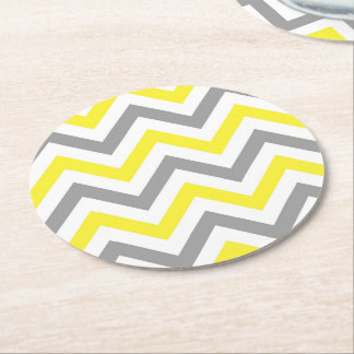 Yellow, Dk Gray Wht Large Chevron ZigZag Pattern Round Paper Coaster