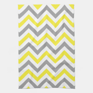 Yellow, Dk Gray Wht Large Chevron ZigZag Pattern Tea Towel