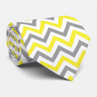 Yellow, Dk Gray Wht Large Chevron ZigZag Pattern Tie