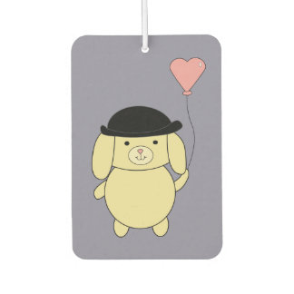 Yellow Dog in Bowler Hat with Heart Balloon Car Air Freshener