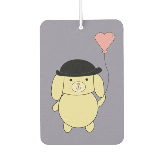 242f7b5fd3d9c Yellow Dog in Bowler Hat with Heart Balloon Car Air Freshener ...