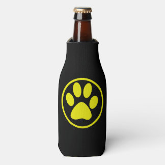 Yellow Dog Paw Design Dog Lover Bottle Cooler