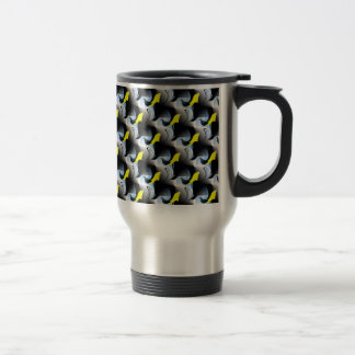 Yellow Dolphins and Birds 3D Art Travel Mug