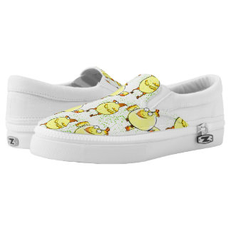 Yellow doodle chicken with retro halftones slip on shoes