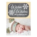 Yellow Dot Chalkboard Snowflake Holiday Photo Card Custom Invite