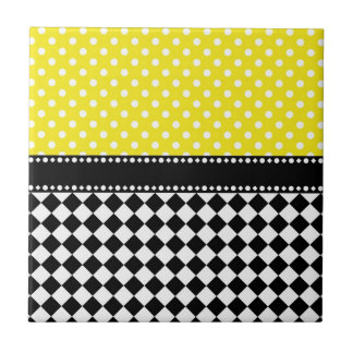 Yellow Dot Checkerboard Small Square Tile