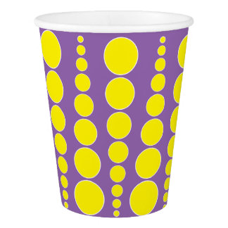 YELLOW DOT PRINT. PURPLE CUSTOMIZABLE BACKGROUND PAPER CUP