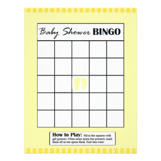 Yellow Double Sided Baby Shower Game BINGO/Daddy Flyer