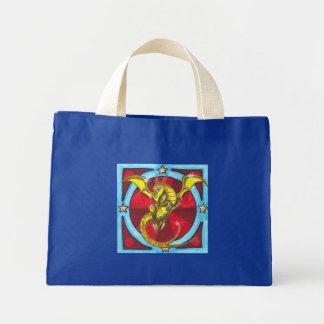 Yellow Dragon with stars fantasy art tote bag
