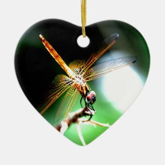 yellow dragonfly peace joy christmas tree ornament