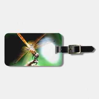 yellow dragonfly peace joy travel bag tags