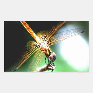yellow dragonfly peace joy rectangular sticker