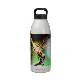 yellow dragonfly peace joy water bottle