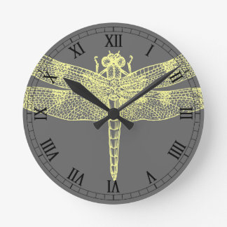 Yellow Dragonfly Round Clock