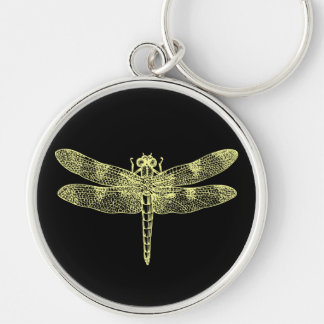 Yellow Dragonfly Silver-Colored Round Key Ring