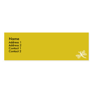 Yellow Dragonfly - skinny Double-Sided Mini Business Cards (Pack Of 20)