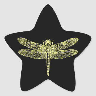 Yellow Dragonfly Star Sticker