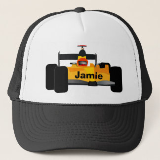 Yellow Dragster Race Car Trucker Hat