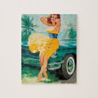 Yellow Dress Pin Up Art Jigsaw Puzzle