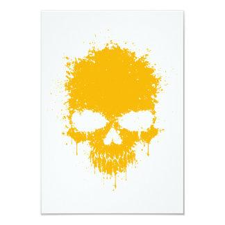 Yellow Dripping Splatter Skull Custom Invites