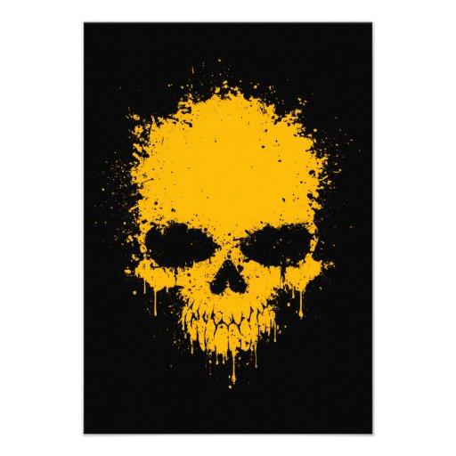 Yellow Dripping Splatter Skull Custom Announcement