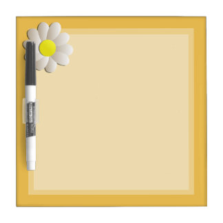 YELLOW DRY ERASE BOARD, DAISY SPRING FLOWER DRY ERASE WHITEBOARDS